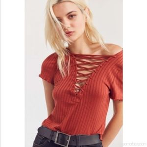 Project Social T Amelia Ribbed Lace-Up Tee